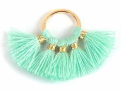 Acheter Pendentif rond doré à pompons - mint - 1,89€ en ligne sur La Petite Epicerie - 100% Loisirs créatifs