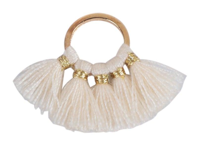 Acheter Pendentif rond doré à pompons - beige - 1,89€ en ligne sur La Petite Epicerie - 100% Loisirs créatifs