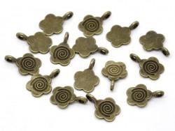 1 Breloque fleur 60's - couleur bronze