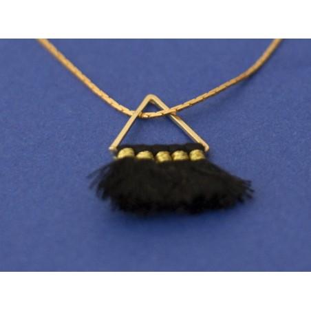 Pendentif triangle doré à pompons - noir  - 2