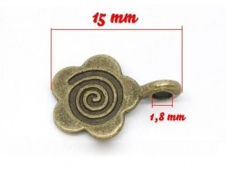 1 hippie flower charm - bronze-coloured