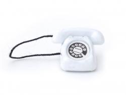 Téléphone vintage miniature - blanc  - 1