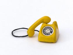 Téléphone vintage miniature - jaune  - 2