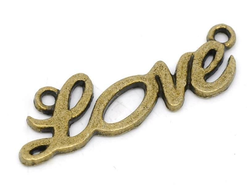 1 Breloque LOVE - couleur bronze  - 1