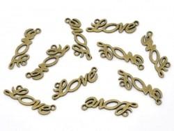 1 Breloque LOVE - couleur bronze  - 2