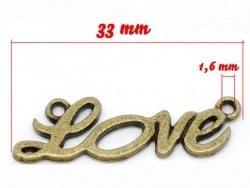 1 Breloque LOVE - couleur bronze  - 3