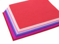 Lot de 10 plaques de feutrine 30cm x 30cm, teintes rose / rouge / violet  - 3