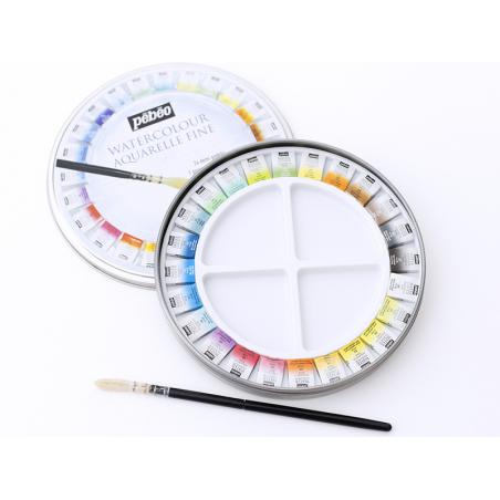 Acheter Coffret 24 demi-godets aquarelle fine - boîte ronde - 29,99€ en ligne sur La Petite Epicerie - Loisirs créatifs