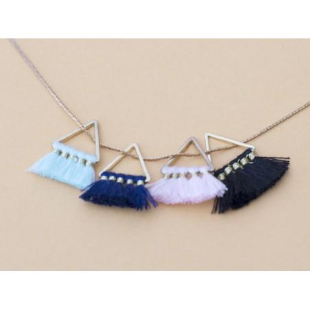 Pendentif triangle doré à pompons - bleu marine  - 4