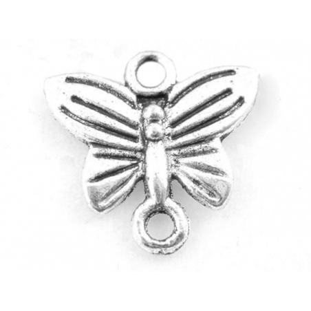 1 Breloque connecteur mini papillon - Argentée