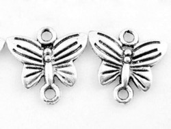 1 small butterfly connector charm - silver-coloured