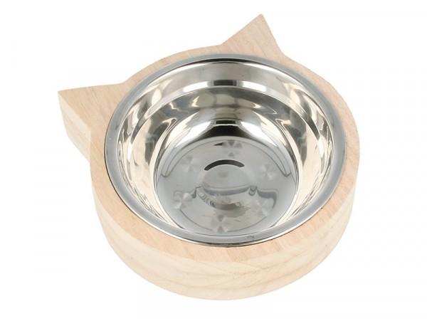 Gamelle pour chat et son socle en bois Artemio - 1
