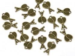 1 Breloque raquettes de Tennis- couleur bronze