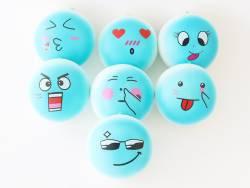 Squishy emoji bleu - visage aléatoire - anti stress  - 1
