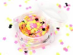 Paillettes fluo en forme de fleurs - rose, jaune, blanc et noir  - 1