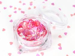 Paillettes en forme de cœur - Nuances de rose  - 1