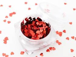 Paillettes en forme de cœur - rouge  - 1