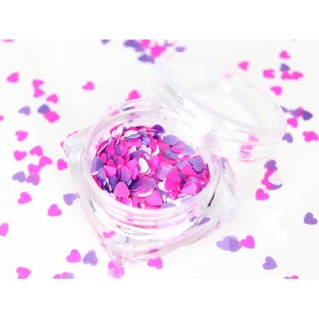 Trio de paillettes en forme de cœur - rose, violet et blanc  - 1