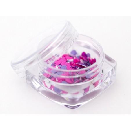 Trio de paillettes en forme de cœur - rose, violet et blanc  - 2