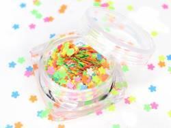 Paillettes fluo en forme de fleurs - multicolore  - 1
