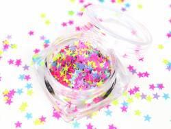 Trio de paillettes fluo en forme d'étoile - rose, jaune et bleu clair  - 1