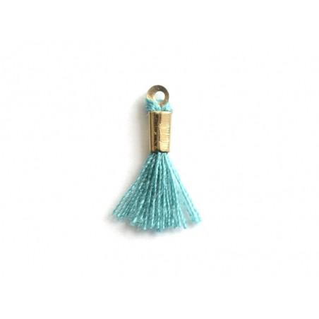 breloque mini-pompon - turquoise  - 1