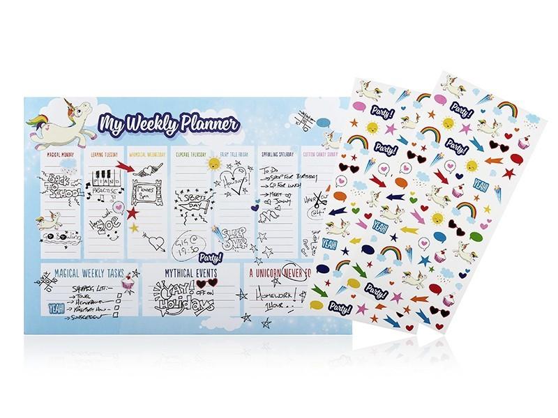 Set de bureau licorne- Planificateur hebdomadaire avec stickers NPW - 1