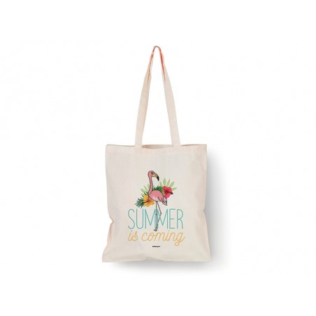 "Tote bag Flamant rose ""Summer is coming"" Bubble Gum - 1"