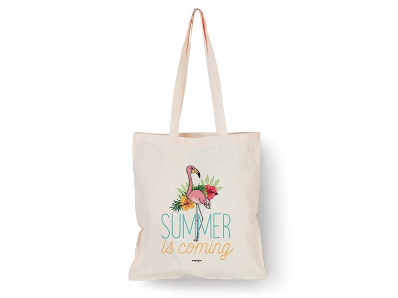 """Tote bag Flamant rose """"Summer is coming"""" Bubble Gum - 1"""