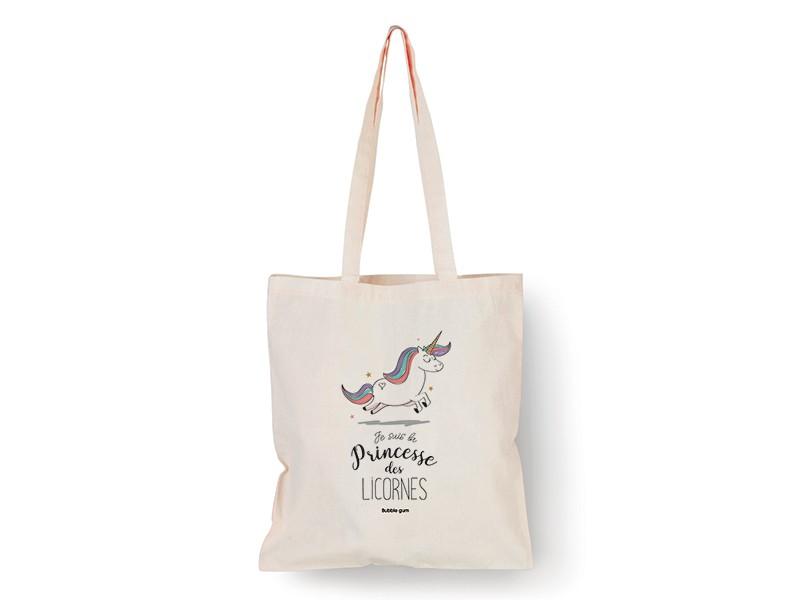 "Tote bag licorne ""Je suis la princesse des licornes"" Bubble Gum - 1"