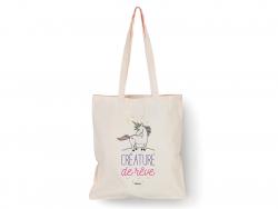 """Tote bag licorne """"Créature de rêve"""" Bubble Gum - 1"""