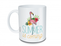 Mug flamant rose à message - Summer is coming Bubble Gum - 1