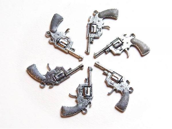 1 Breloque pistolet de cowboy - argentée  - 1