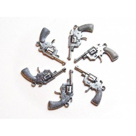 1 cowboy pistol charm - silver-coloured