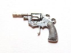 1 Breloque pistolet de cowboy - argentée  - 2