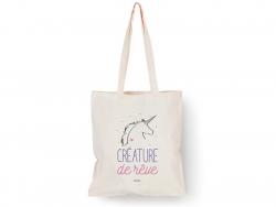 """Tote bag tête de licorne """"Créature de rêve"""" Bubble Gum - 1"""