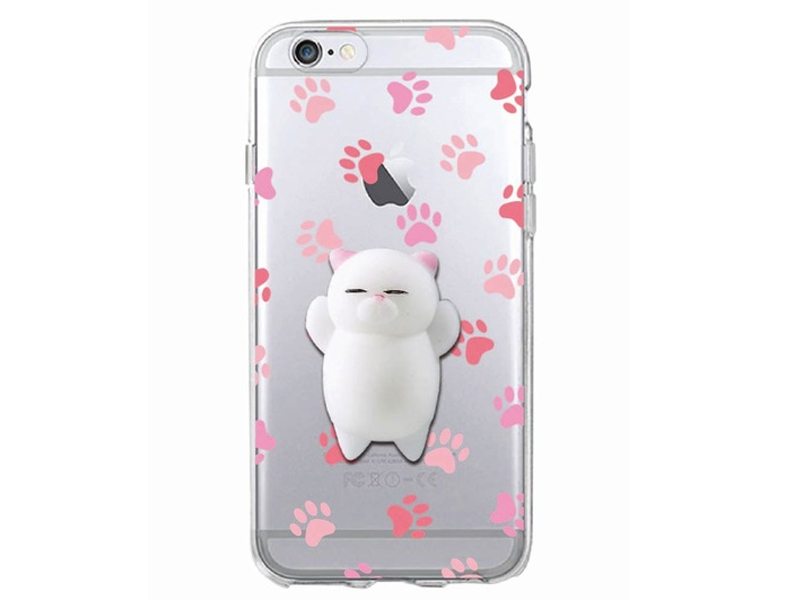 Coque Iphone 5 / 5S / SE - Squishy chat blanc  - 1