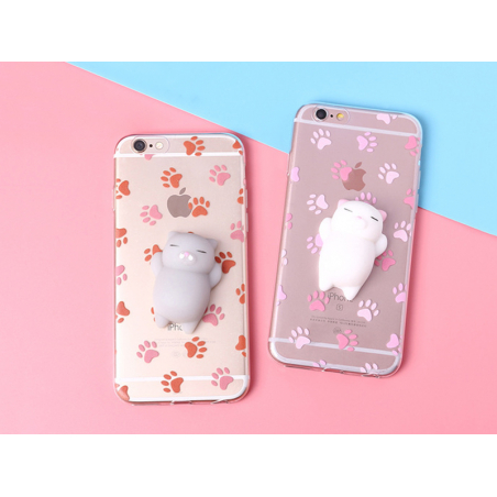 Coque Iphone 5 / 5S / SE - Squishy chat blanc  - 2