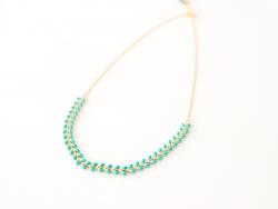 Collier chaîne épi - émail vert émeraude Les Cleias - 1