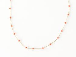 Collier chaîne serpentine avec petites perles en verre corail Les Cleias - 1