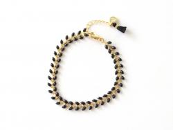 Bracelet chaîne épi - émail noir Les Cleias - 1