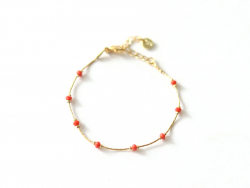 Bracelet chaîne serpentine avec petites perles en verre corail Les Cleias - 1