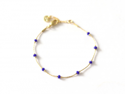 Bracelet chaîne serpentine avec petites perles en verre bleues Les Cleias - 1