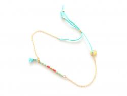 Bracelet coulissant - petites perles et pompon Les Cleias - 1