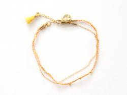 Bracelet double - chaîne, tresse et pompon jaune 7bis - 1