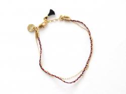 Bracelet double - chaîne, tresse et pompon noir 7bis - 1