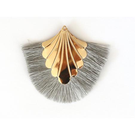 Acheter Pendentif coquillage doré à franges grises - 2,90€ en ligne sur La Petite Epicerie - 100% Loisirs créatifs