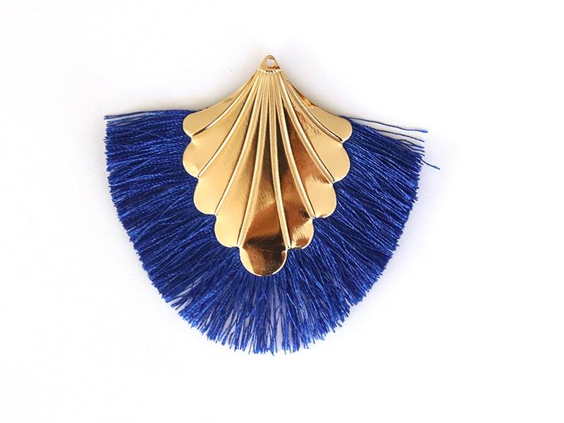 Pendentif coquillage doré à franges bleues  - 1
