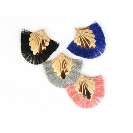 Pendentif coquillage doré à franges bleues  - 3