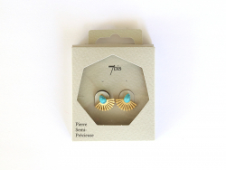 Boucles d'oreilles goutte turquoise et silhouette paon doré 7bis - 1